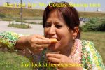 Sunanda enjoying a Samosa